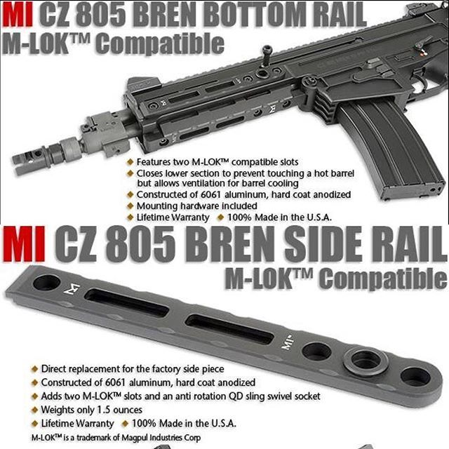 #mulpix The new Midwest Industries side and bottom rails in M-LOK for the @czusafirearms 805 Bren are now available and shipping. #CZ #805 #Bren #mlok #midwestindustries #pistol #gunparts #rifles #556 #pewpew