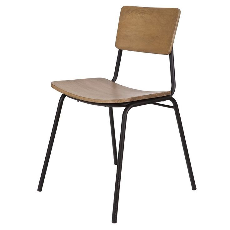 Image result for ijzeren stoel houten leuning