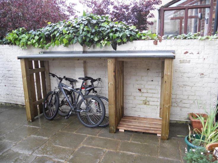 Bike shed bikes stroller storage pinterest for Diy outdoor bike storage