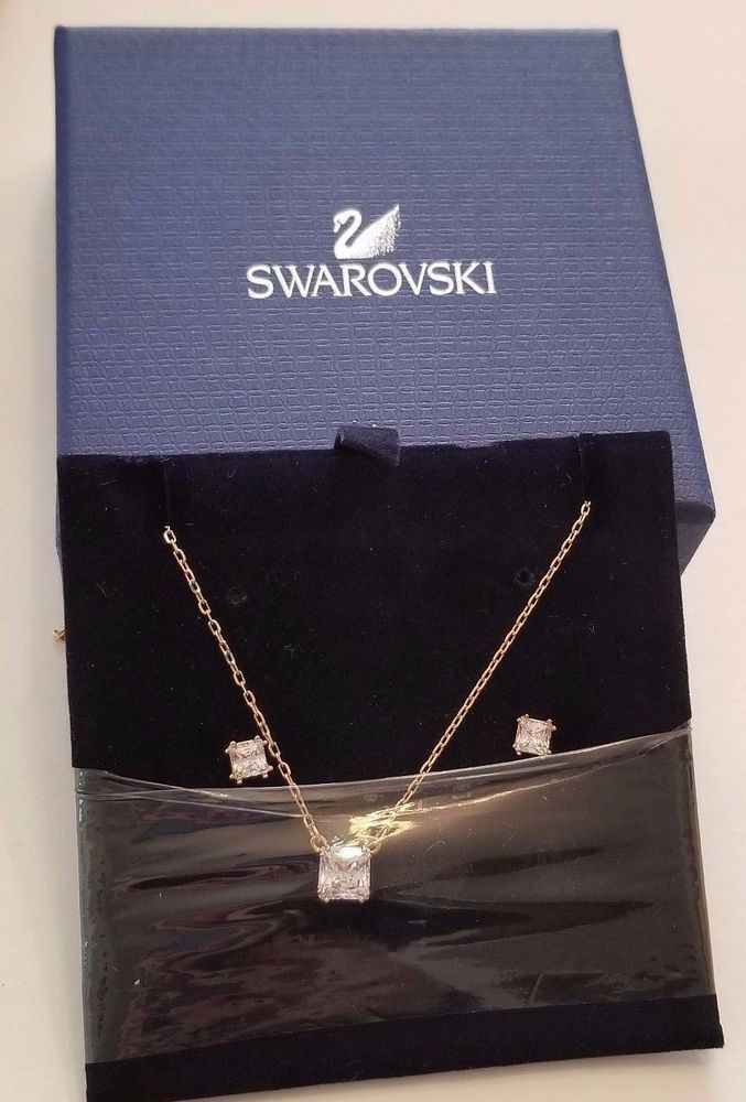 b993a625afe2 Swarovski Crystal Attract Square Set gold plated necklace earrings set  5149222  Swarovski
