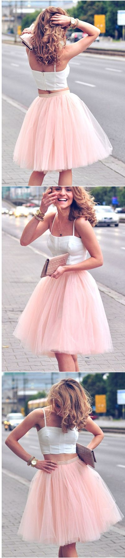 Two-Piece A-Line Spaghetti Straps Short Pink Tulle Homecoming Dress @veenrol two piece homecoming dresses, 2 piece homecoming dresses, pink homecoming dresses