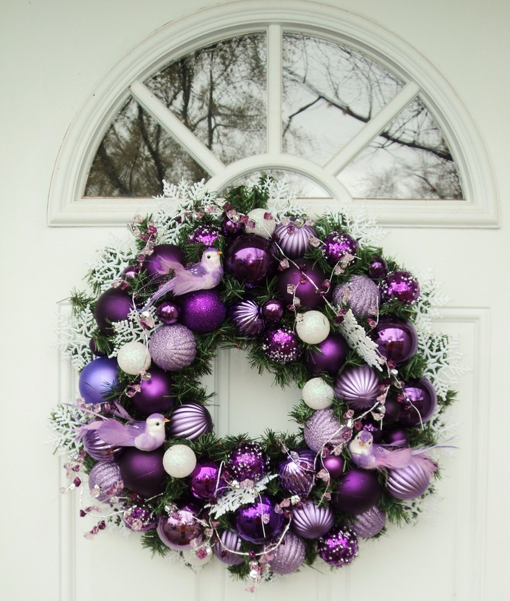 Purple Christmas Wreath with Purple Birds. $139.00, via Etsy.