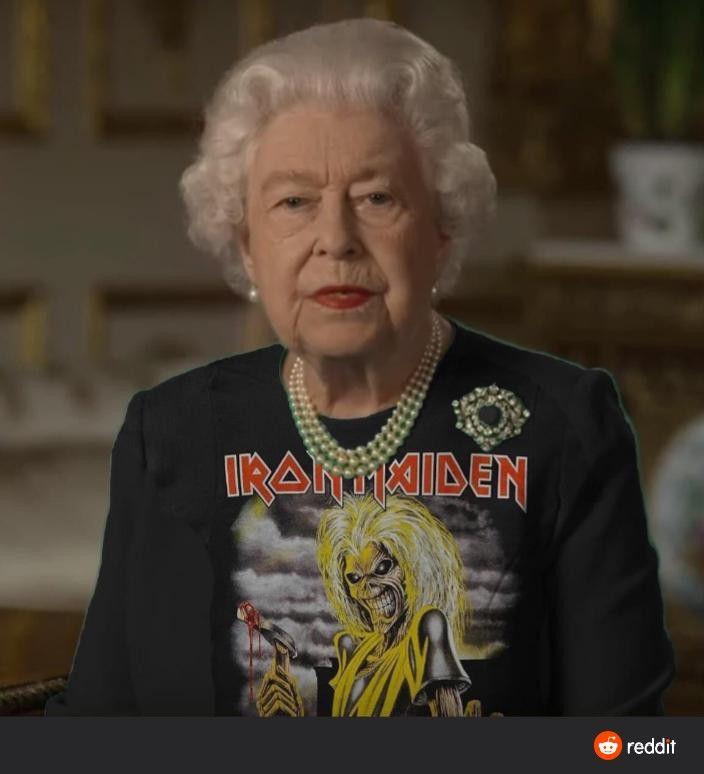 Pin By Keith Abt On Iron Maiden Queen Meme Green Dress Queen Elizabeth