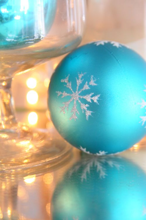 Turquoise Shiny Christmas Ornament