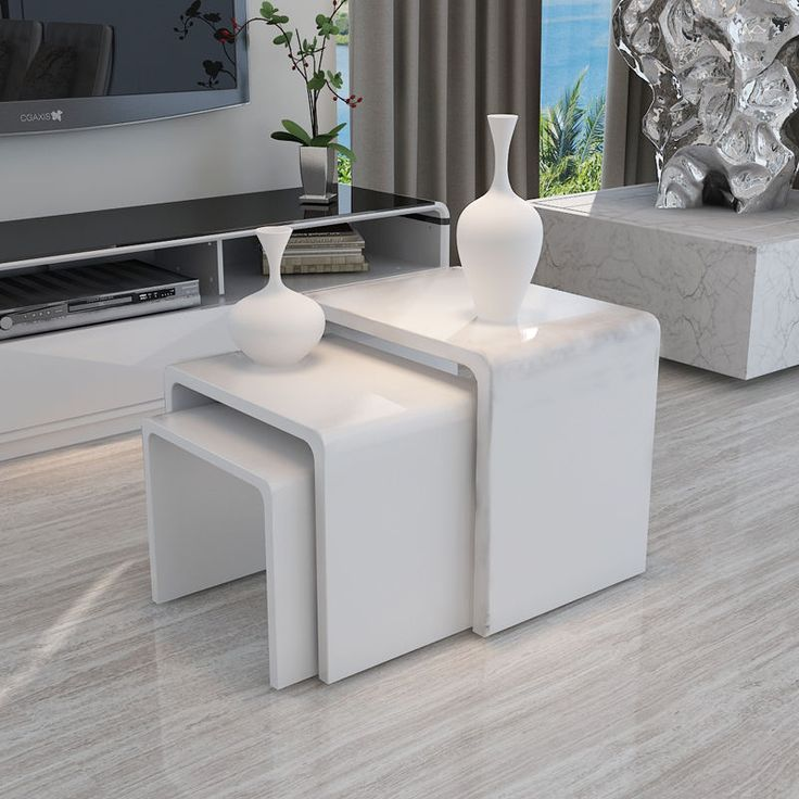 Modern Oval White High Gloss Glossy Lacquer Coffee Table: Details About MODERN DESIGN WHITE HIGH GLOSS NEST OF 3