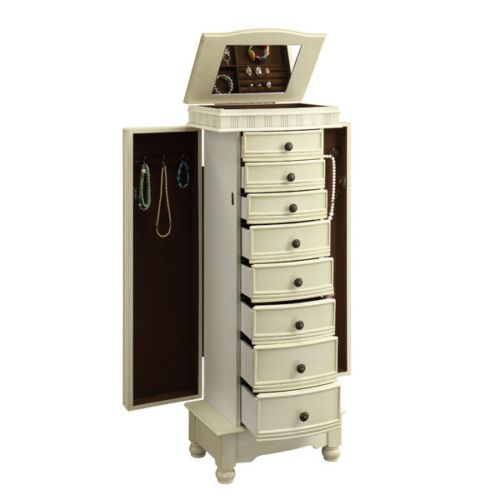 Jewelry-Armoire-Chest-White-Cream-Wood-Box-Tall-Storage-Cabinet-Stand-Organizer