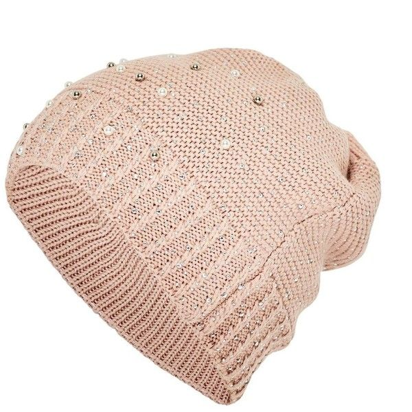 Hallhuber Bead-embellished Beanie ($41) ❤ liked on Polyvore featuring accessories, hats, knit hat, beaded hat, knit beanie, cold weather beanie and knit beanie hat