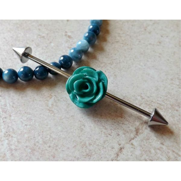 Industrial Barbell With Green Rose Body Jewelry Ear Jewelry Double... ($9.95) ❤ liked on Polyvore featuring jewelry, accessories, piercings, spikes jewelry, green jewellery, surgical steel jewelry, rose jewelry and green jewelry