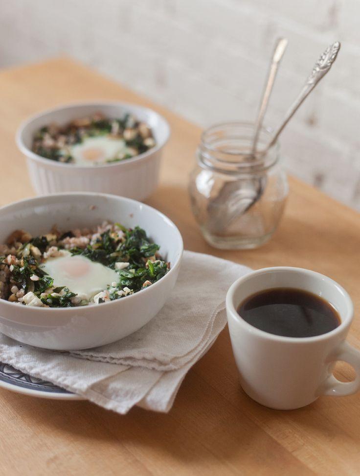 Spinach and Feta Buckwheat Egg Bake