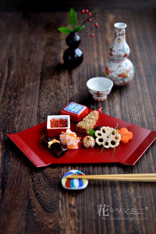 折敷でお節 - Japanese New year meal.