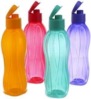 Tupperware ECO Flip top 500 ML Multi-Coloured Water Bottles Tumblers ( Set Of 4 )