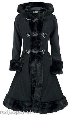 Poizen Industries Emo Gothic Punk MINX Coat Ladies Black Ladies Fur Button Cosy: Amazon.co.uk: Clothing