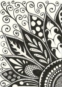 Zentangle flower doodle ATC