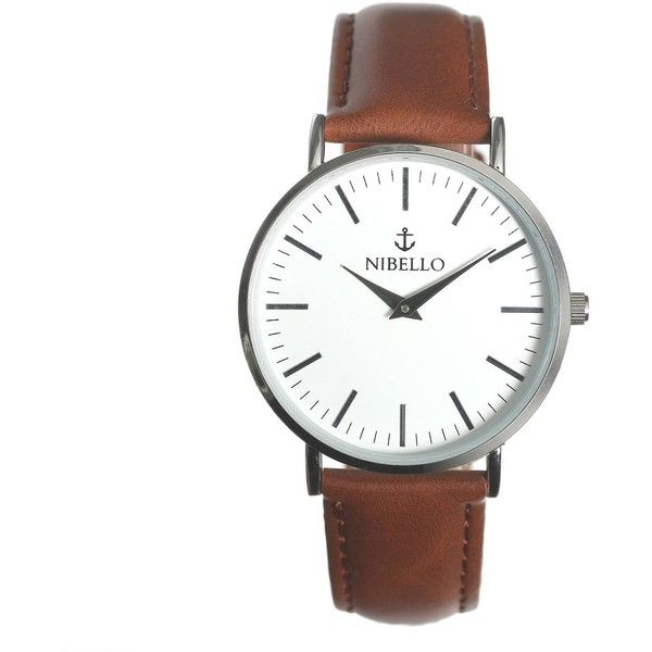 Nibello Watches - Silver & White Mens Watch with Brown Strap ($73) ❤ liked on Polyvore featuring men's fashion, men's jewelry, men's watches, mens leather strap watches, mens watches jewelry, mens silver watches and mens white watches