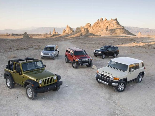 4x4 SUV Comparison: 2008 Hummer H3 Alpha, Jeep Wrangler Rubicon, Land Rover LR2, Nissan Xterra, and Toyota FJ Cruiser
