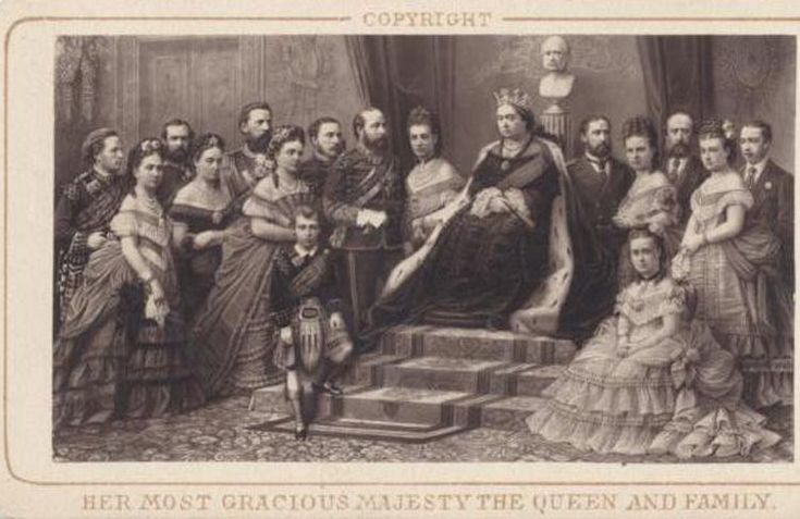 CDV ENGRAVING OF QUEEN VICTORIA AND HER ROYAL COURT W/ NAMES -PHILADELPHIA, PA