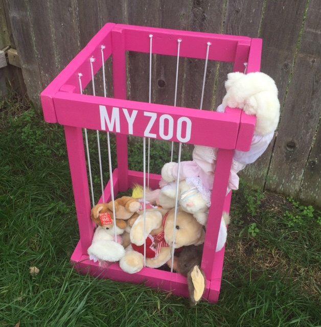 Toy Box - stuffed animal zoo - my zoo - stuffed animal holder - stuffed animal storage - christmas gift for kids - kids room decor by SarahOlsenDesigns on Etsy https://www.etsy.com/listing/487838413/toy-box-stuffed-animal-zoo-my-zoo