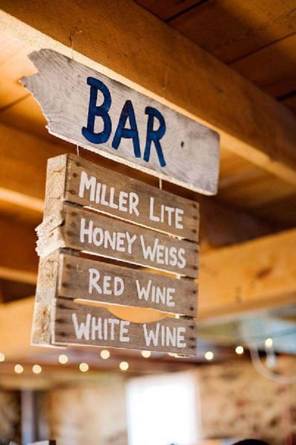 bar menu pallet rustic wedding decor ideas