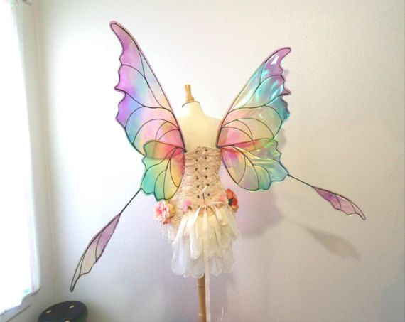 Ready to ship RAINBOW Butterfly Iridescent blue Fairy wings
