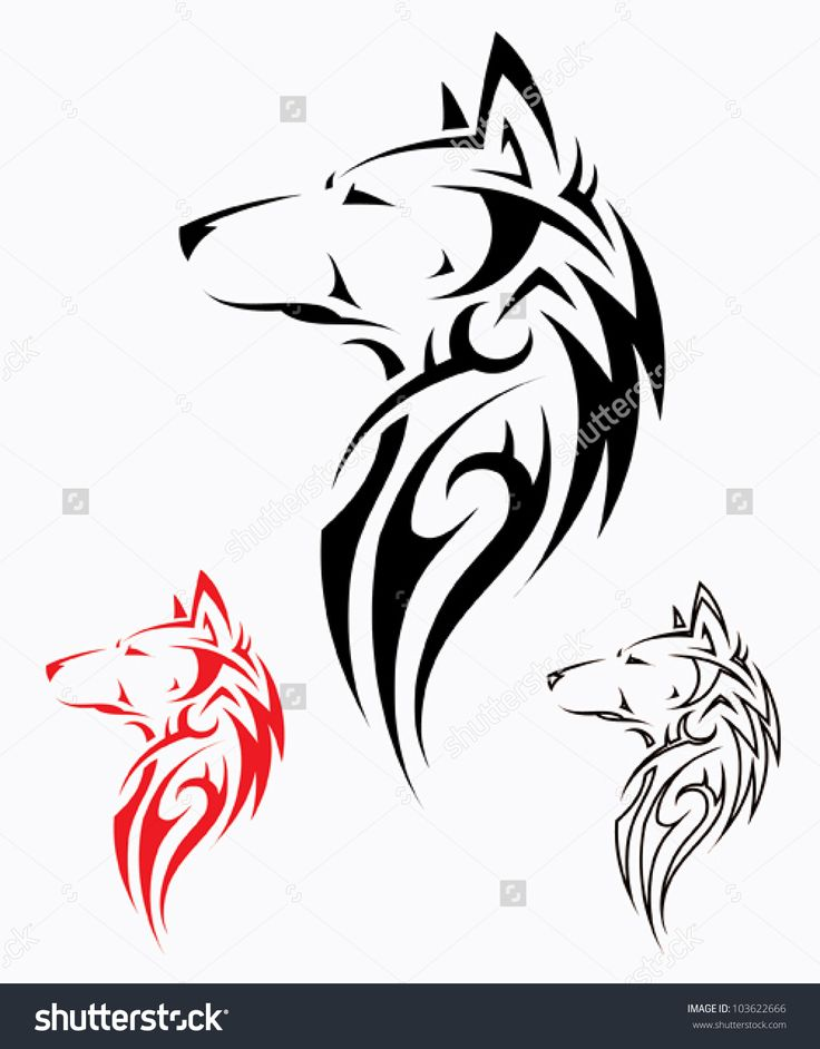 Tribal wolf tattoo - vector illustration