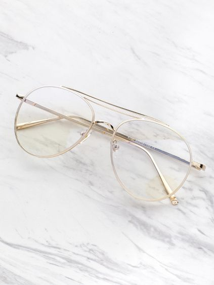 Gafas estilo aviador con lentes transparentes