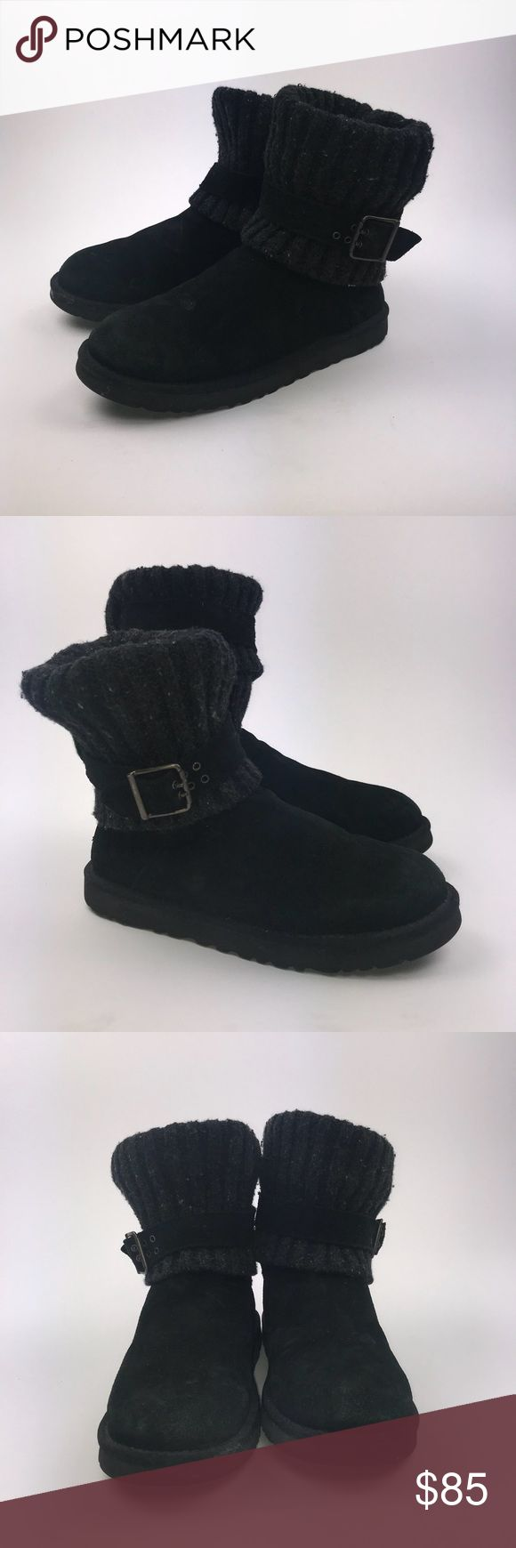 UGG Women's Black Cambridge Knit Boots Size 8 UGG Australia Women's Cambridge Knit Boots Black Size 8 Pre-owned *Any defects or signs of wear are shown in images -Water damage   PM367 UGG Shoes
