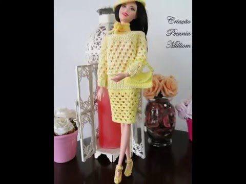 Barbie Crochê Miniaturas Artesanato e Coisas Mais: Crochê Para Barbie: Como Fazer Vestido de Ponta Em Crochê, Com Gráfico, Criado Por Pecunia MillioM