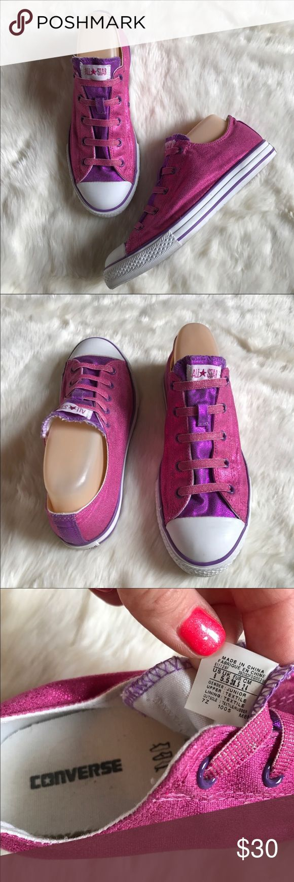 Converse slip on shoe Size 38.5 Converse All Star- Pink and purple glitter shimmer slip on shoe🌸⭐️ Very cute and comfortable. Worn a few times. In great condition✨Size 38.5 Converse Shoes Sneakers