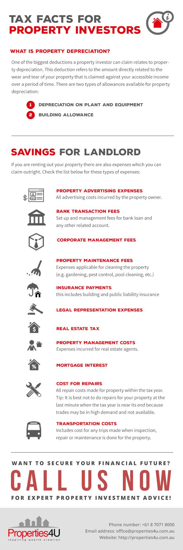Want more information regarding property taxes and other property investment inquiries? Contact Properties4u today for Investment Properties Australia!