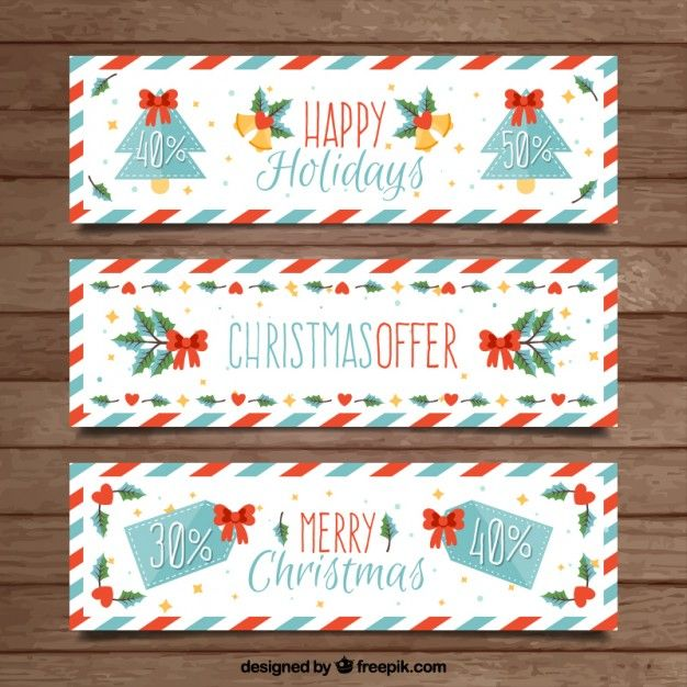 Striped christmas banners Free Vector