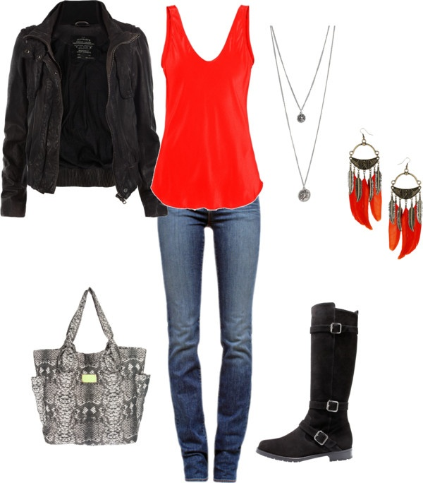 """""""Motorcycle outfit"""" by whitneyls on Polyvore- Rebel w/a cause, I'd be on fire in this outfit! -HH"""