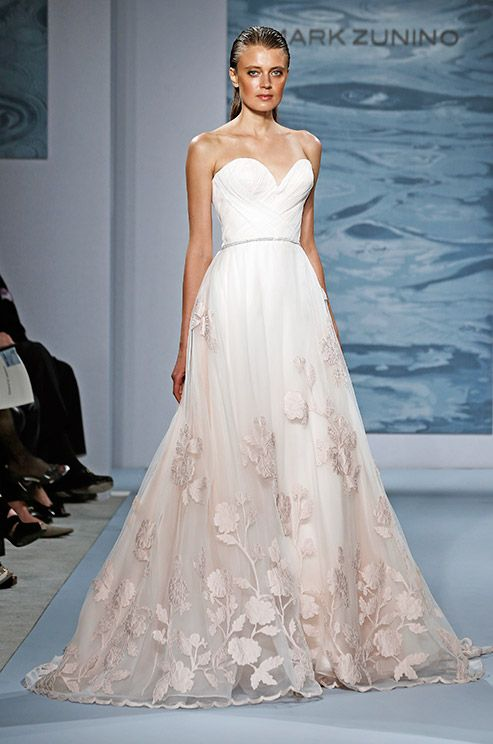 A beautiful ombre wedding dress with flower embroidered on the skirt. Mark Zunino, 2015
