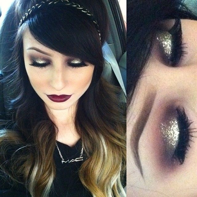 Bold eyes and bordeaux lipstick!
