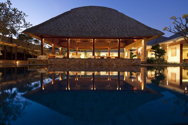 Villa Satria Bali Swimming pool  by night http://www.prestigebalivillas.com/bali_villas/villa_satria/49/reservation_and_rate/