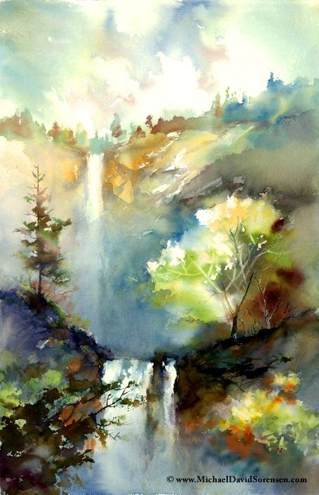 """The Water and the Light"" - Watercolor by Michael David Sorensen. http://www.facebook.com/michaeldavidsorensenMichael David, Watercolors Landscapes, Water Lights 700 Jpg 452 700, Art Landscapes, Www Michaeldavid, David Sorensen, Watercolour Artists, Water Colors, Watercolors Painting"