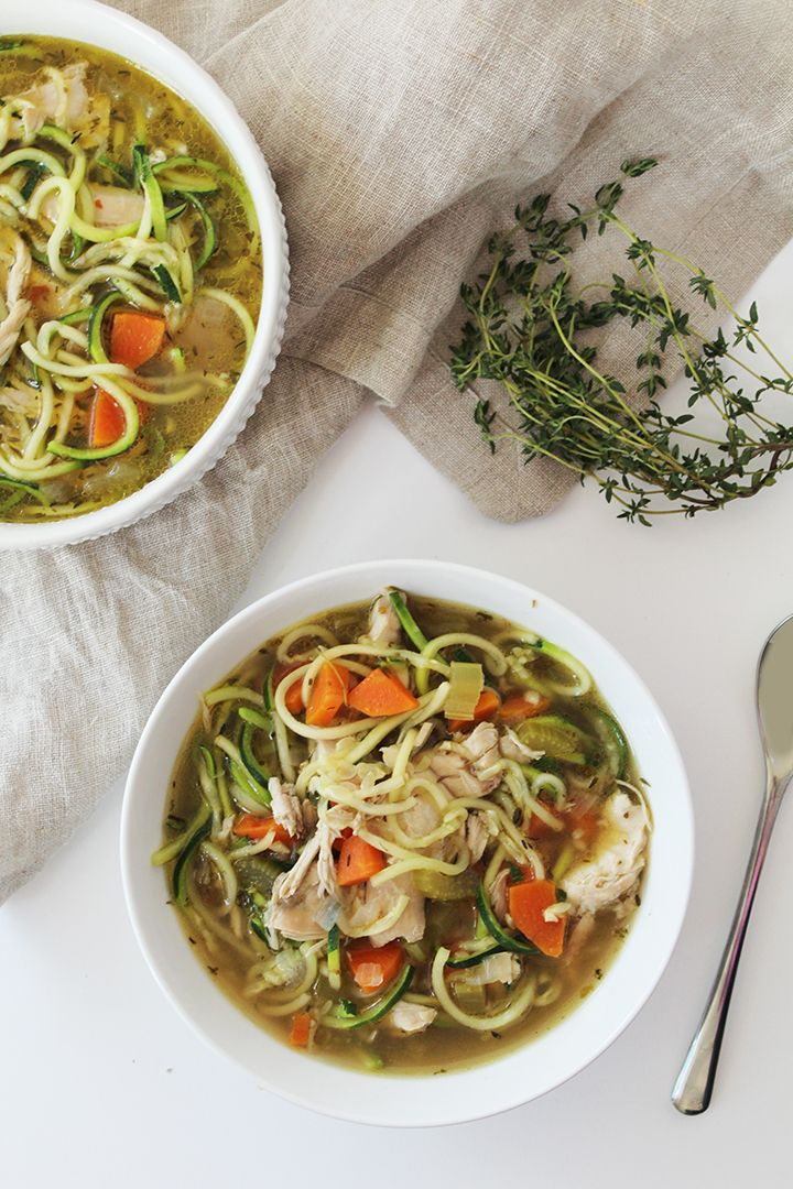 "The Best ""Chicken"" Zucchini Noodle Soup, Ever! (Sub beans, tofu or seitan for chicken.)"