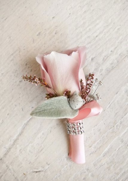 bout: preston bailey pink boutonniere rose bling jewels. Stylish elegance
