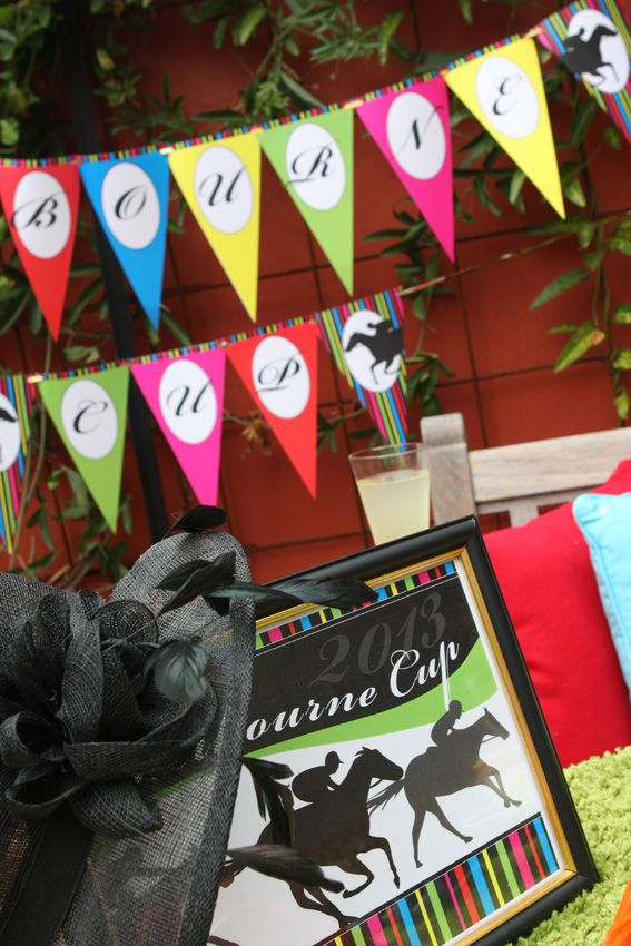 Melbourne Cup party printables - Welcome sign and bunting flags