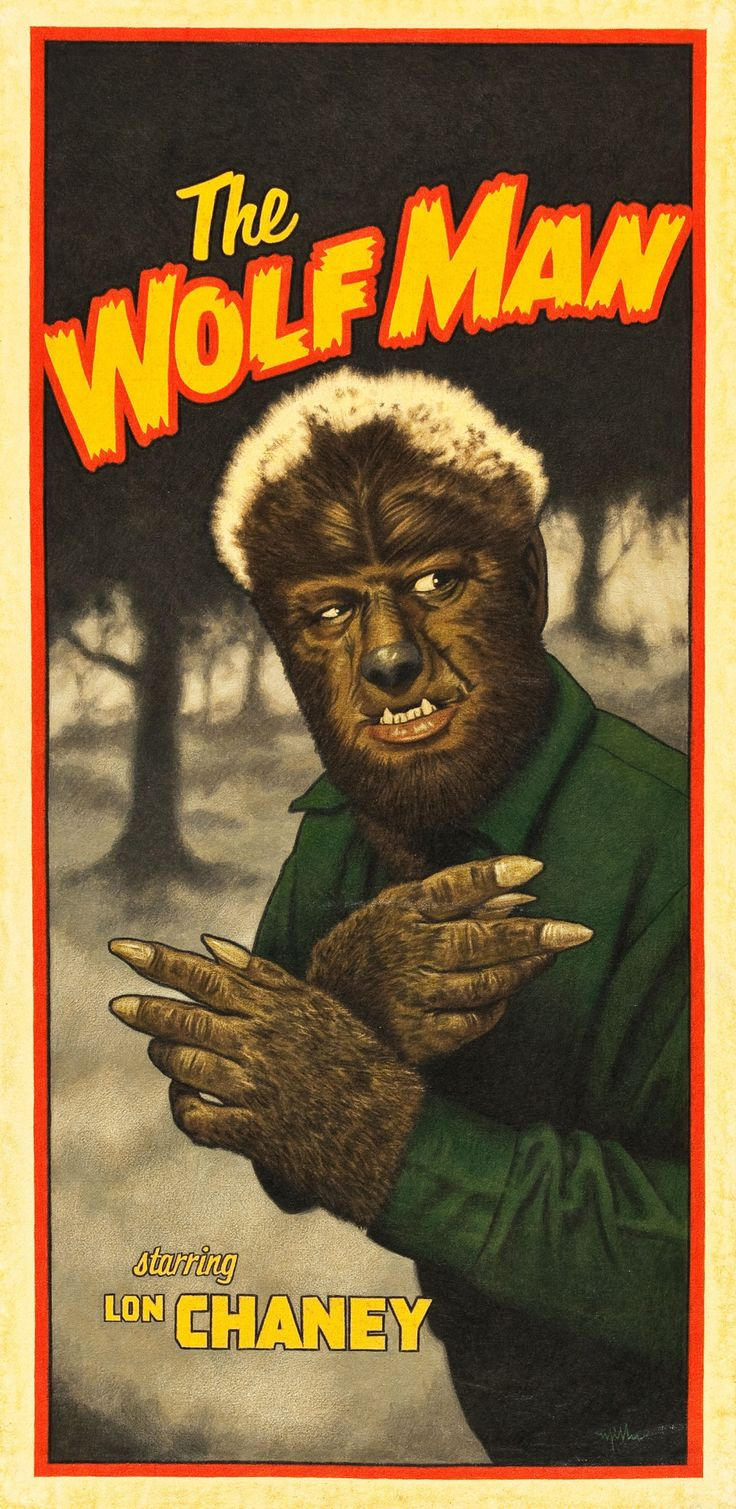 Vintage genius and fun! Lawrence Talbot - THE WOLF MAN - played by Lon Chaney Jr. - Universal Pictures - Movie Poster.