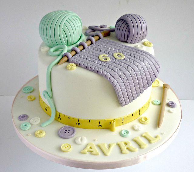 Knitting themed birthday cake in pastel colours 100% edible! Via https://www.flickr.com/photos/swirlsbakery/13765350705/
