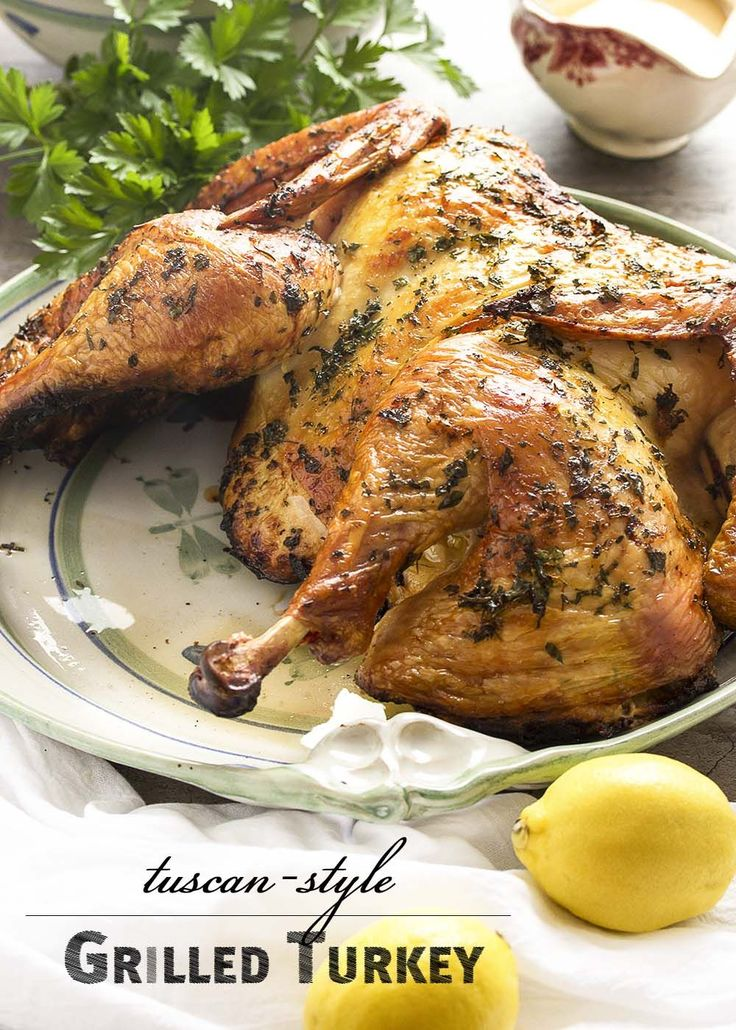 Grill your turkey this year! Tuscan grilled turkey is rubbed with rosemary and citrus zest, then grilled to golden brown on the outside and juicy on the inside. | justalittlebitofbacon.com