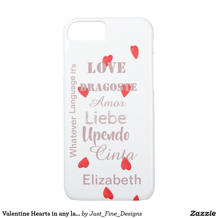 Valentine Hearts in any language to personalize iPhone 8/7 Case. Cute red valentine case to carry with you everywhere and remind you of your loved one.