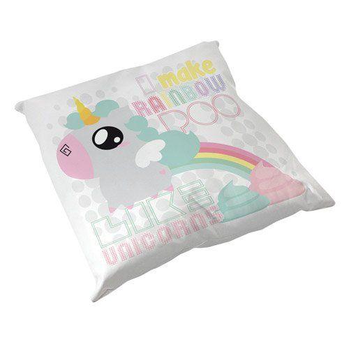 "Coussin Décoration Licorne "" I make Rainbow Poo like Unicorns "" Arc en ciel & Caca Chibi Kawaii by Fluffy Chamalow - Chamalow Shop"