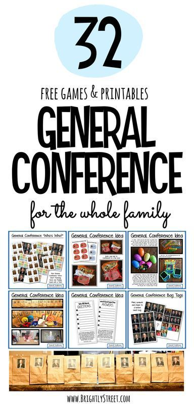 32 + Great Ideas and Free Printables for General Conference Weekend.  Fun for the whole family.  Your kids will LOVE all the great ideas and activities.  This will become their FAVORITE day of the YEAR!!  Put your Conference Weekend packets, baskets and bags together today!!  www.brightlystreet.com
