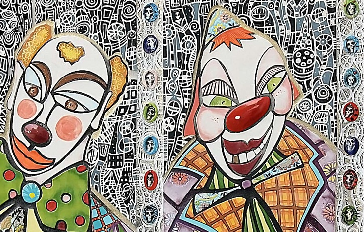 X+J by Isa Sevrain. Such intricate work, such moving depiction of clown faces.