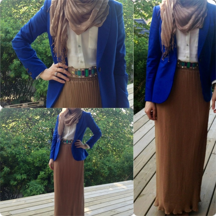 Hijab Fashion Maxi Skirt Camel Royal Blue My Style Pinterest