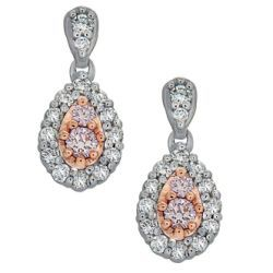 Blush Droplet Earrings with White & Pink Diamonds