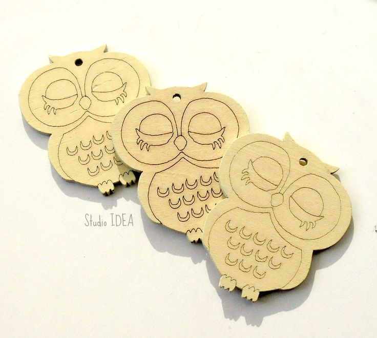 Set of 2 large Natural white Wooden Owl Embellishments, Wooden Owl Tags- Set of 2 pcs - pinned by pin4etsy.com