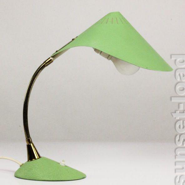Cobra Schwanenhals Leuchte 50er alte Schreib Tisch Lampe Schrumpflack Lind Grün | eBay