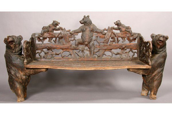 Antique Black Forest Carved Bench Bear Faux Bois